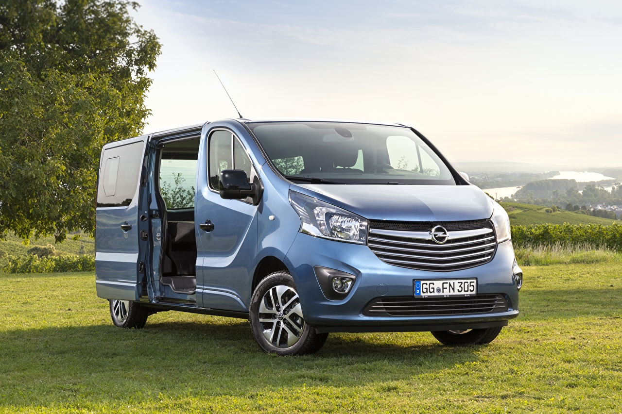 Picture Opel Vivaro, Salon de francfort, 2017 Minivan Light Blue Cars Grass Metallic auto automobile