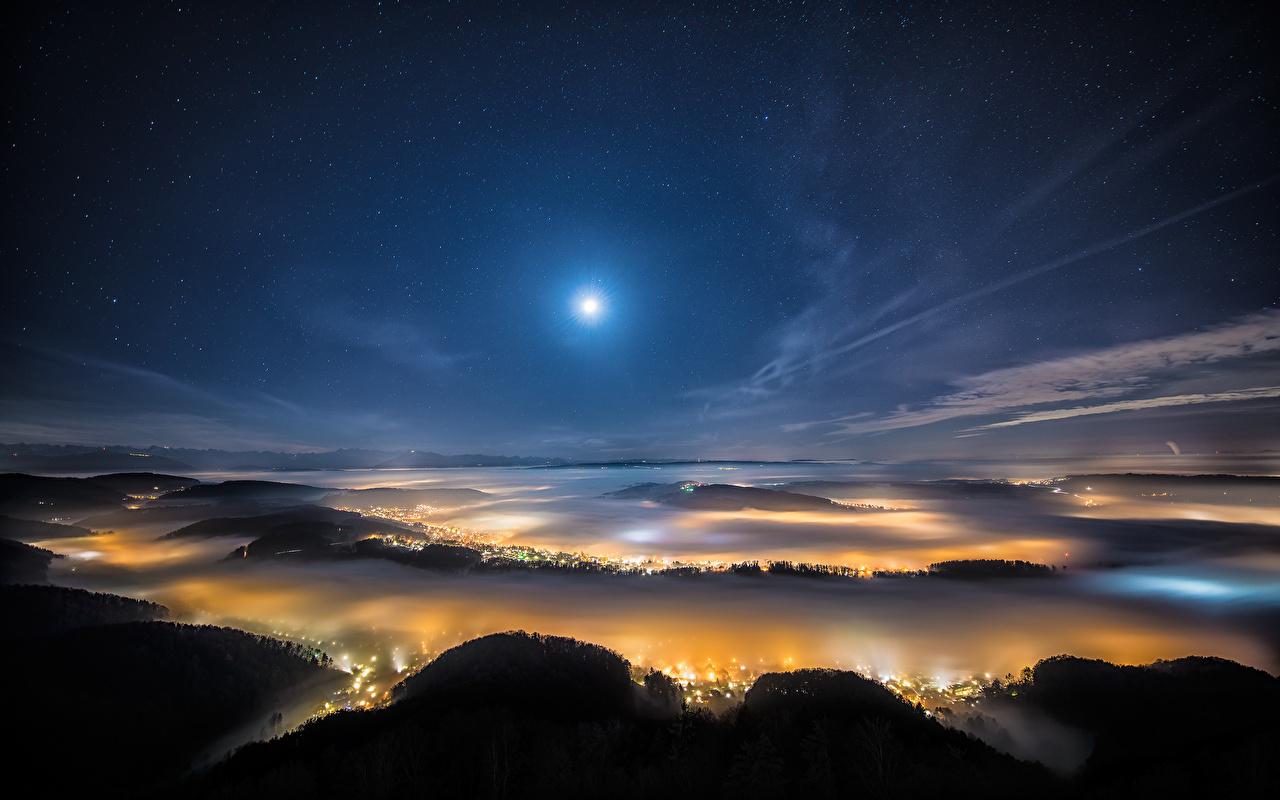 、スイス、空、恒星、チューリッヒ、夜、月、上から、都市、