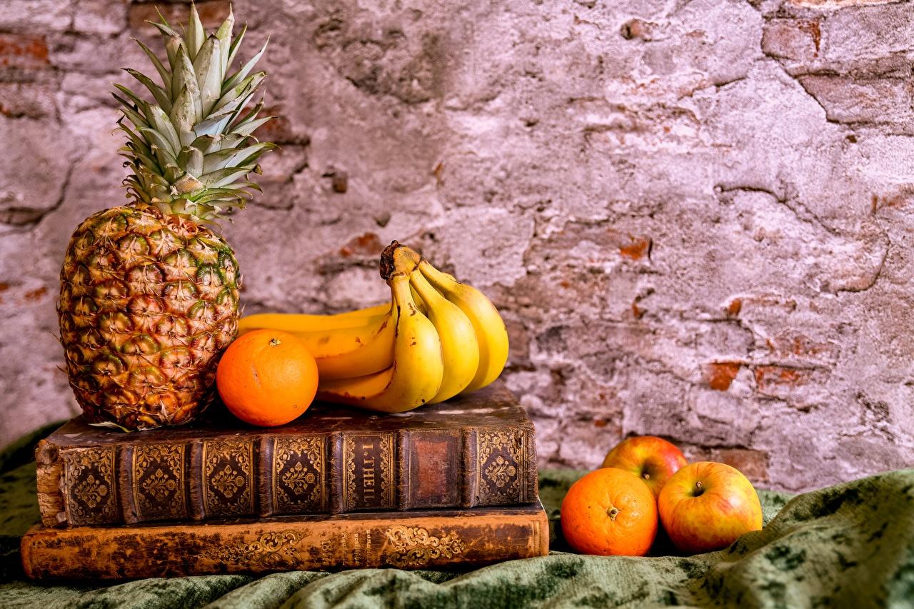 Desktop Wallpapers Orange fruit Apples Bananas Pineapples Book Food Still-life books