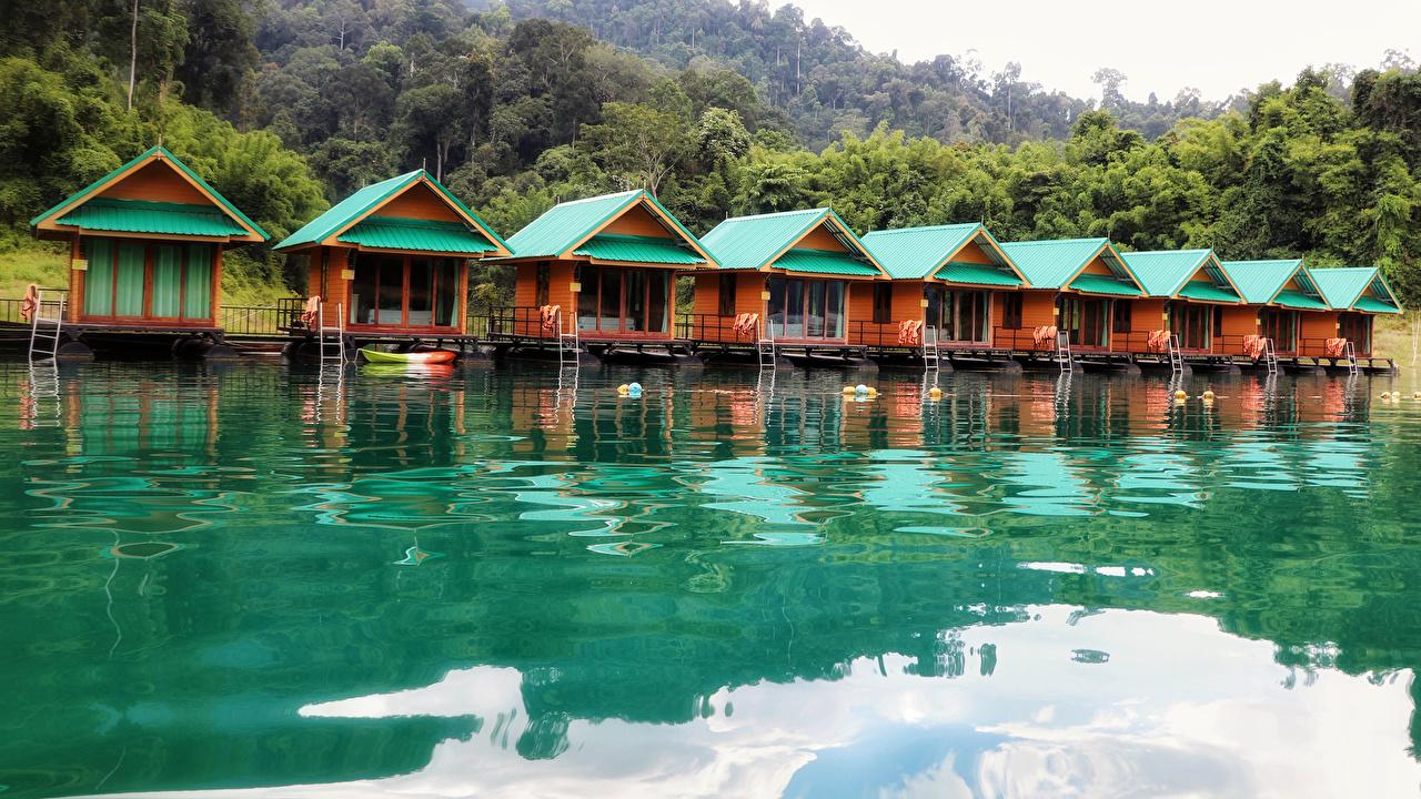 Desktop Wallpapers Cheow Lan Lake Khao Sok National Park Thailand Nature park Building Parks Houses