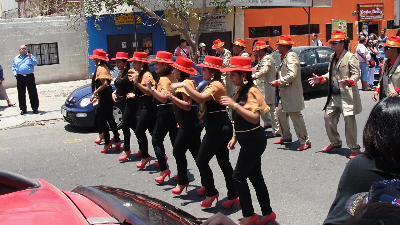 ,狂歡節化妝舞會和,人,智利,瓦尔帕莱索,街道,帽子,年輕女性,城市,女孩,