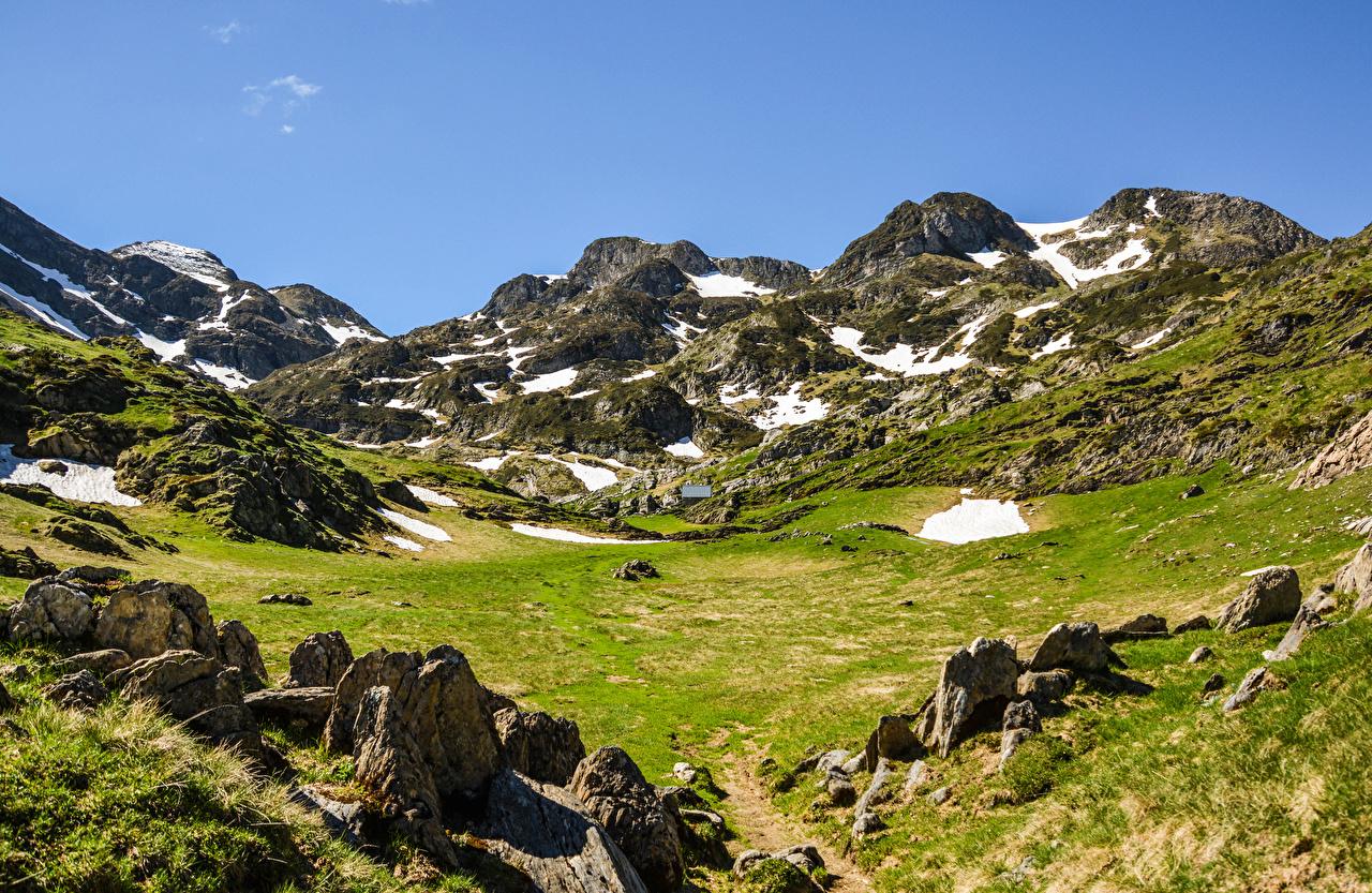 Pictures Alps Austria Nature Mountains Snow Meadow Stones mountain Grasslands stone