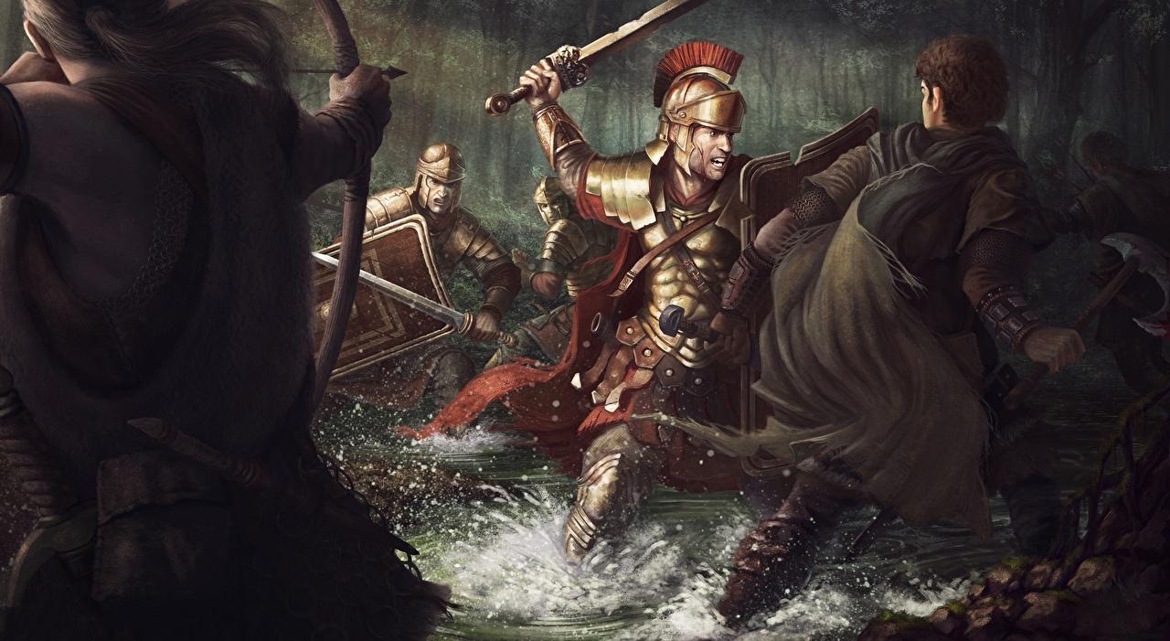 、戦闘、兵、射手、ウォリアーズ、The Battle of the Teutoburg Forest  in 9 CE、剣、盾、鎧、ファンタジー、