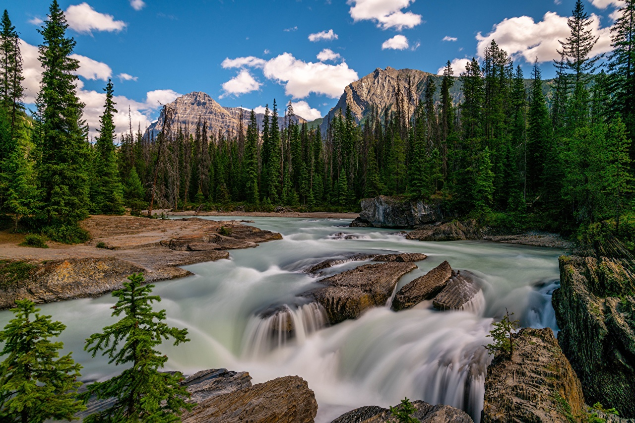 Wallpaper Canada Yoho National Park Nature mountain park Scenery Rivers Stones Trees Clouds Mountains Parks landscape photography river stone