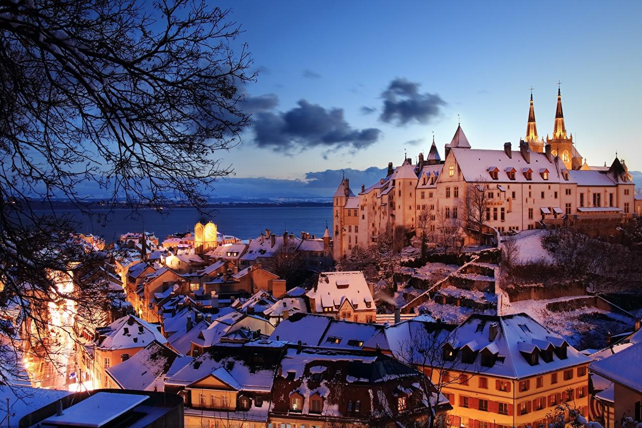 Desktop Wallpapers Switzerland Castles Lake Evening Houses Cities castle Building