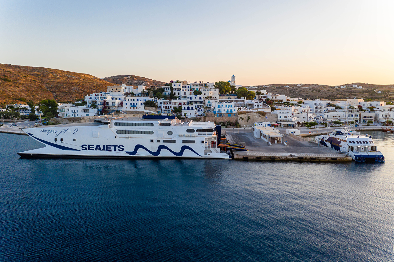 Picture Greece Adamas, Milos Ships Bay Berth Cities Building ship Pier Marinas Houses
