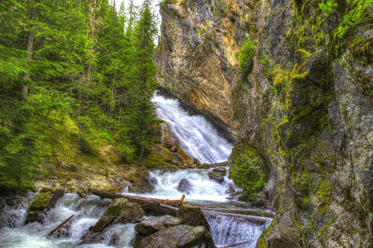 Bilder Washington Vereinigte Staaten Granite Falls Spokane HDRI Natur Felsen Wasserfall Bäume USA HDR