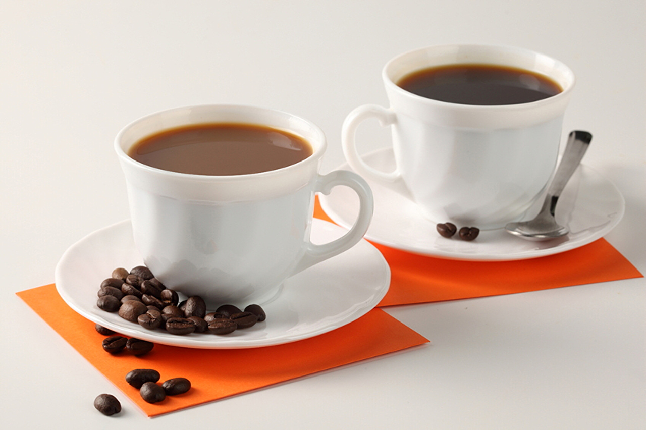 Photos Two Coffee Grain Cup Food Spoon Saucer Gray background 2