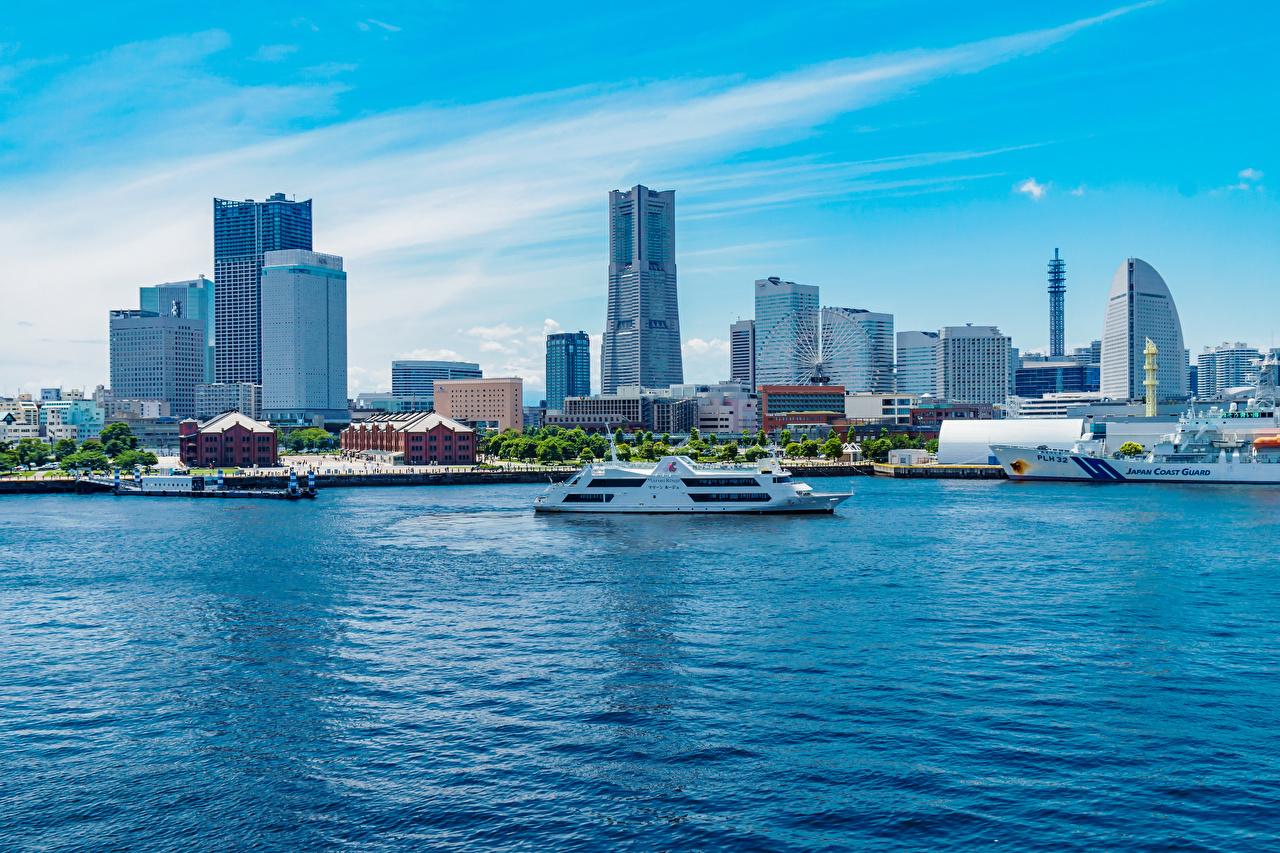 Photos Japan Yokohama, Minatomirai Station Ships Bay Cities Building ship Houses