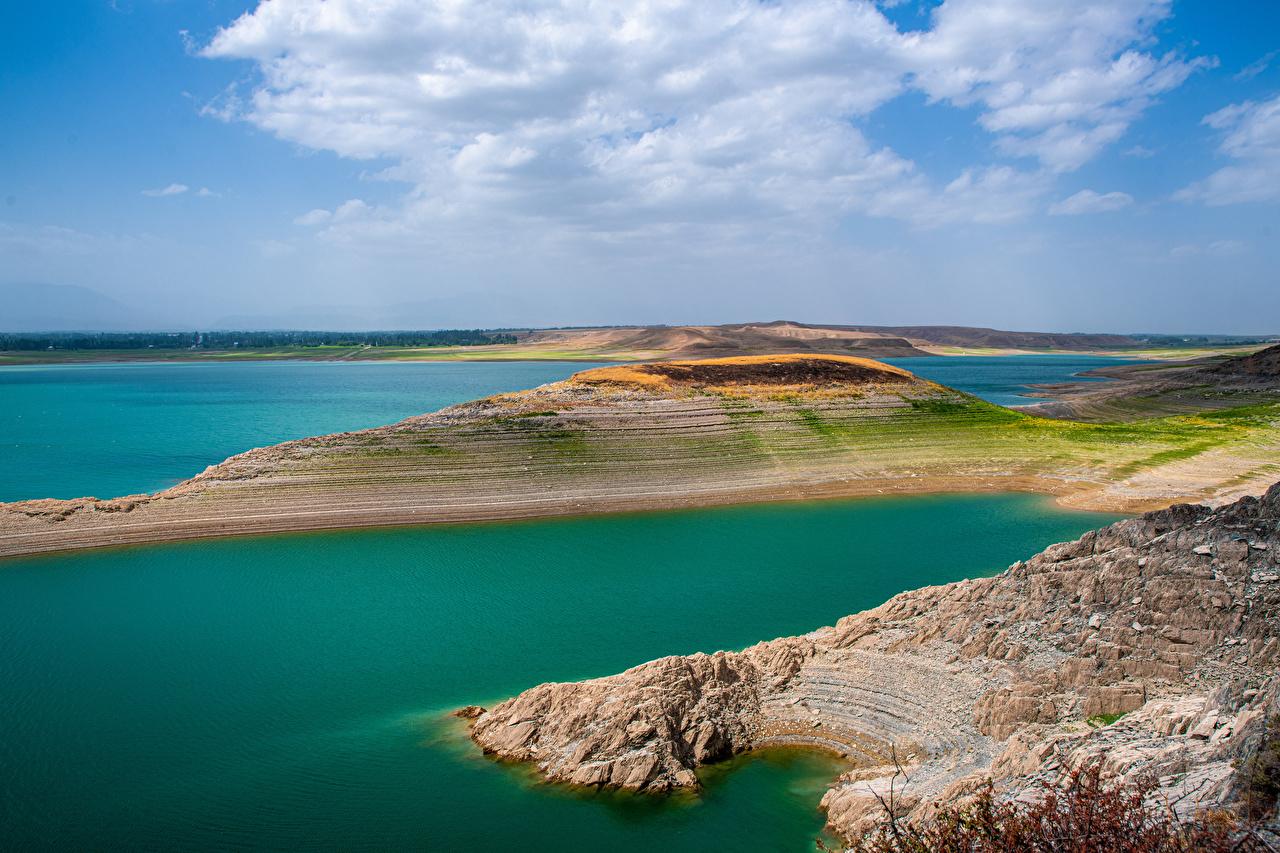 Desktop Hintergrundbilder Kirov Reservoir, Kyrgyzstan Natur See Wolke
