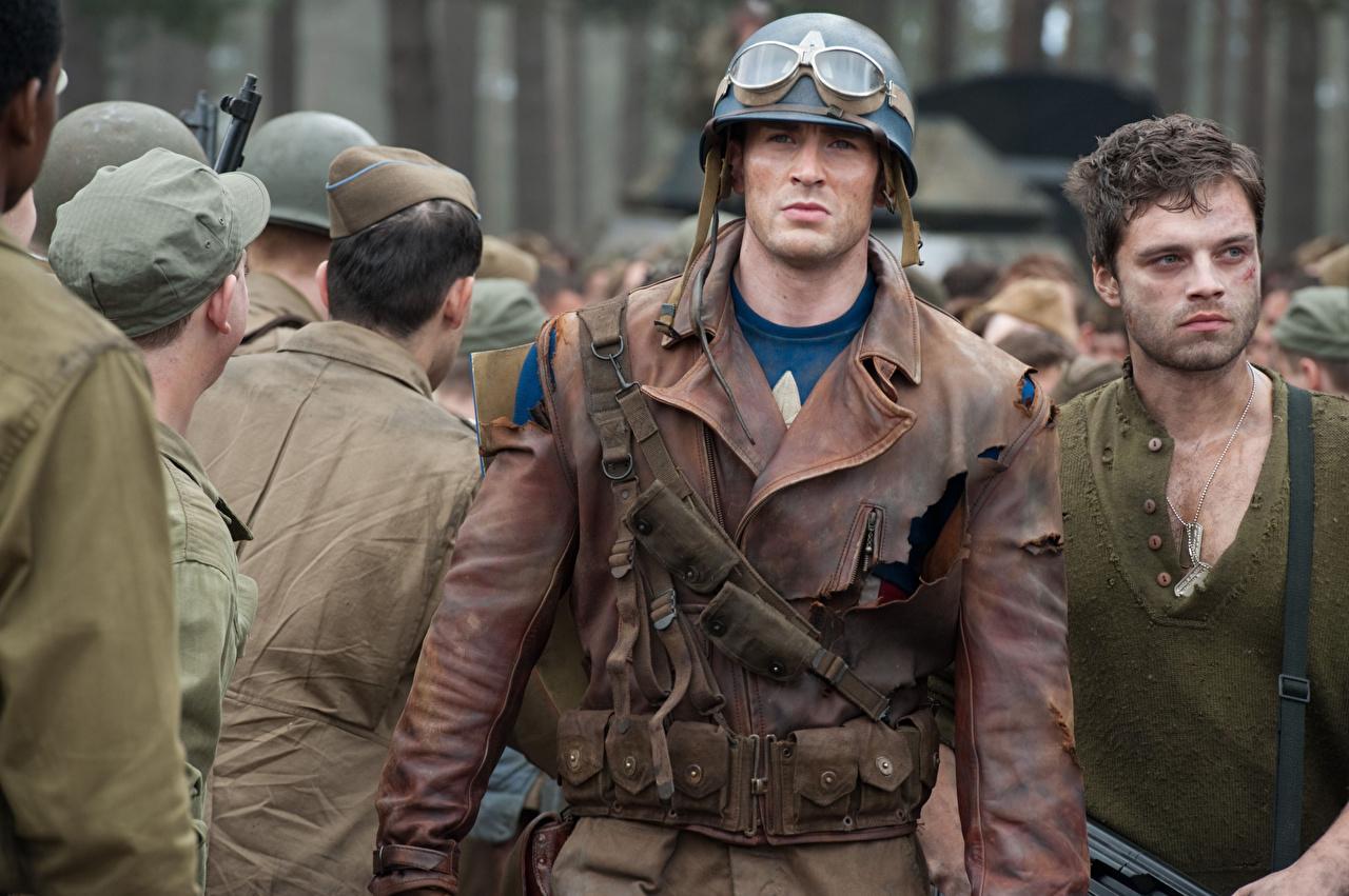 Wallpaper Celebrities Captain America: The First Avenger Chris Evans Men Military war helmet Steve Rogers Jacket Beautiful eyeglasses Movies Man Glasses