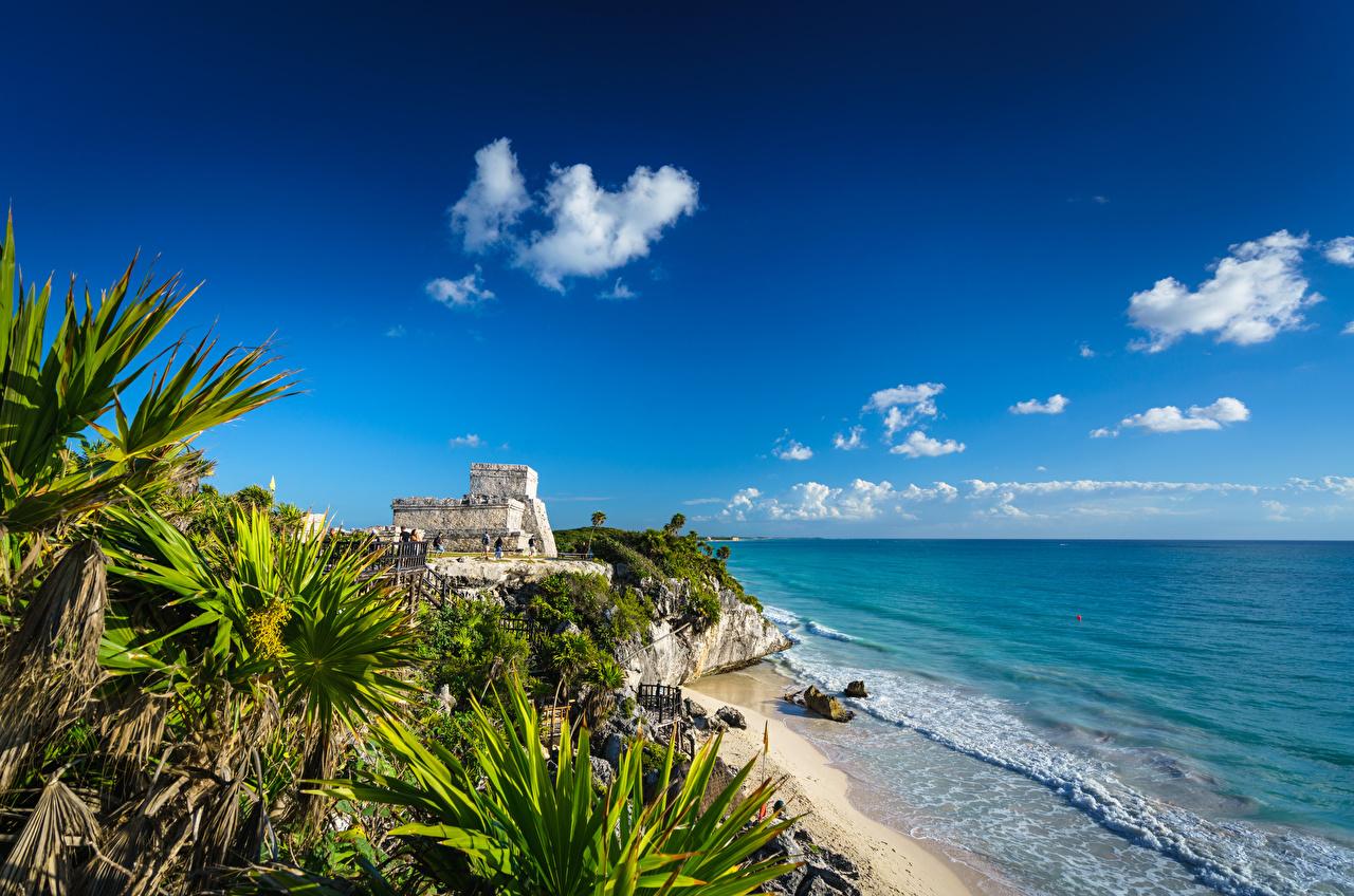 Desktop Hintergrundbilder Mexiko Tulum, Quintana Roo Natur Himmel Palmengewächse Küste Wolke Palmen