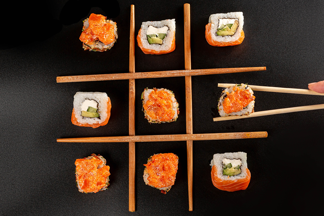 Photos Sushi Food Chopsticks Gray background