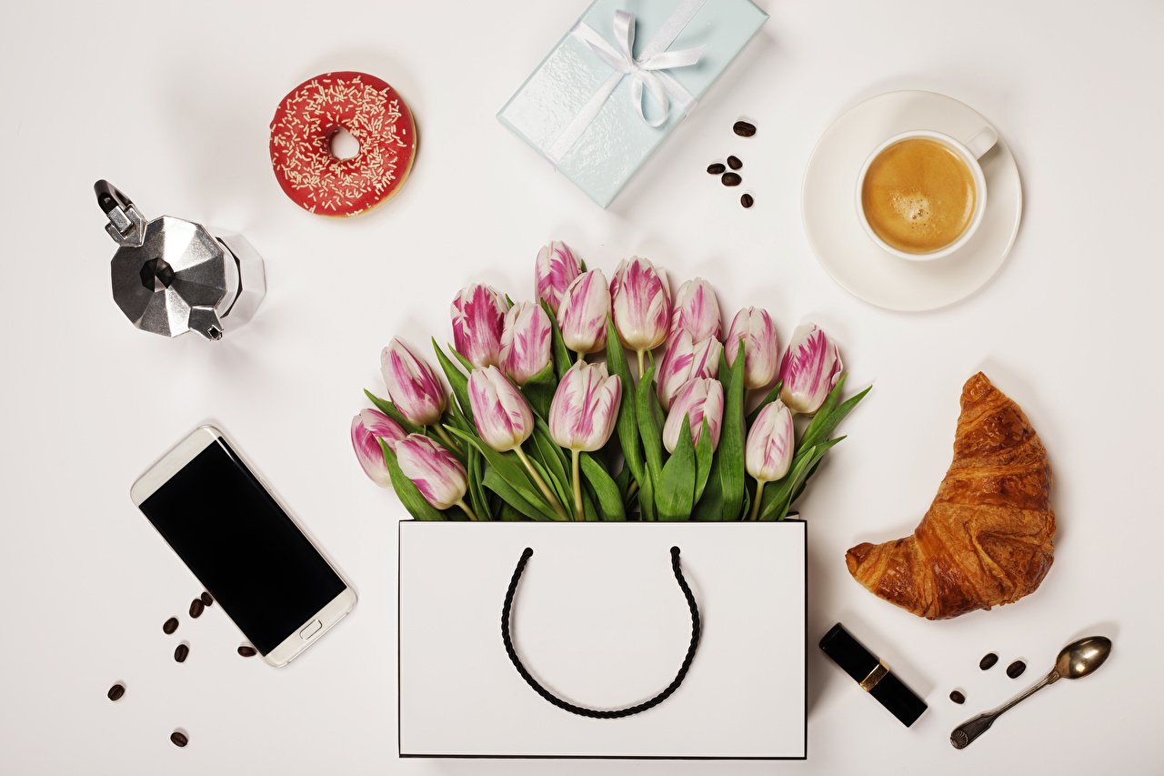Image Smartphone tulip Coffee Doughnut Croissant Cappuccino Gifts flower Cup Food Spoon Handbag Still-life Gray background smartphones Tulips Donuts present Flowers purse