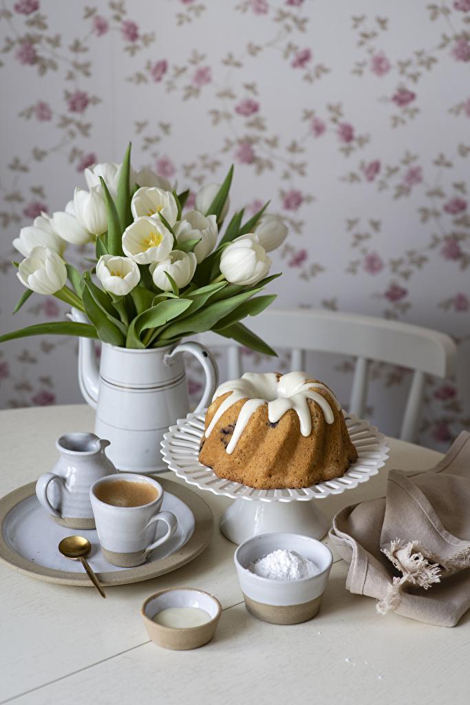 Bilder Keks Kaffee Tulpen Vase Tasse Teller Löffel Lebensmittel das Essen