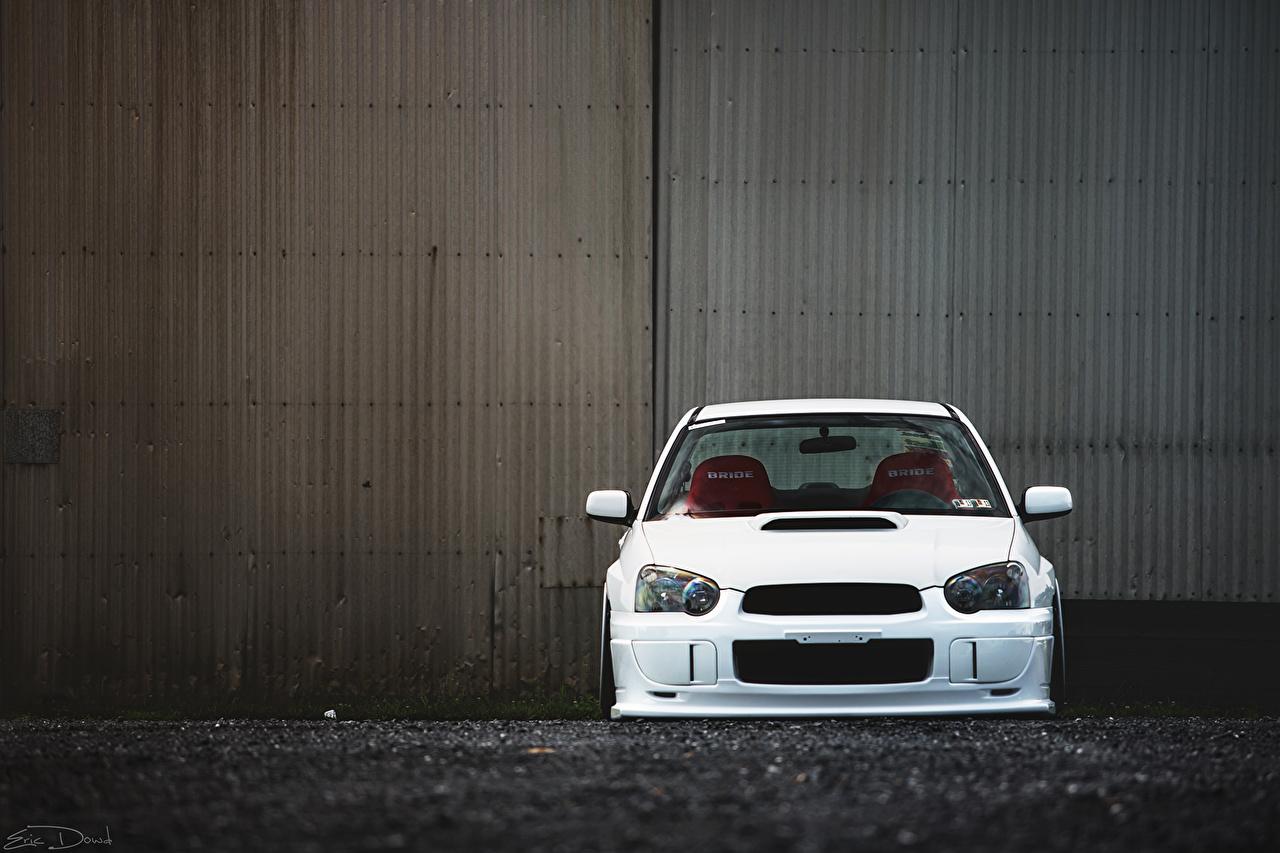 Pictures Subaru impreza wrx sti White Cars Front auto automobile