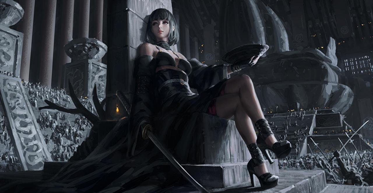 Bilder Schwert Krieger Thron Katana GUWEIZ art, Z.W. Gu schöner Fantasy Mädchens Bein Asiaten Sitzend Stöckelschuh Schön schöne hübsch schönes hübsche hübscher junge frau junge Frauen Asiatische asiatisches sitzt sitzen High Heels