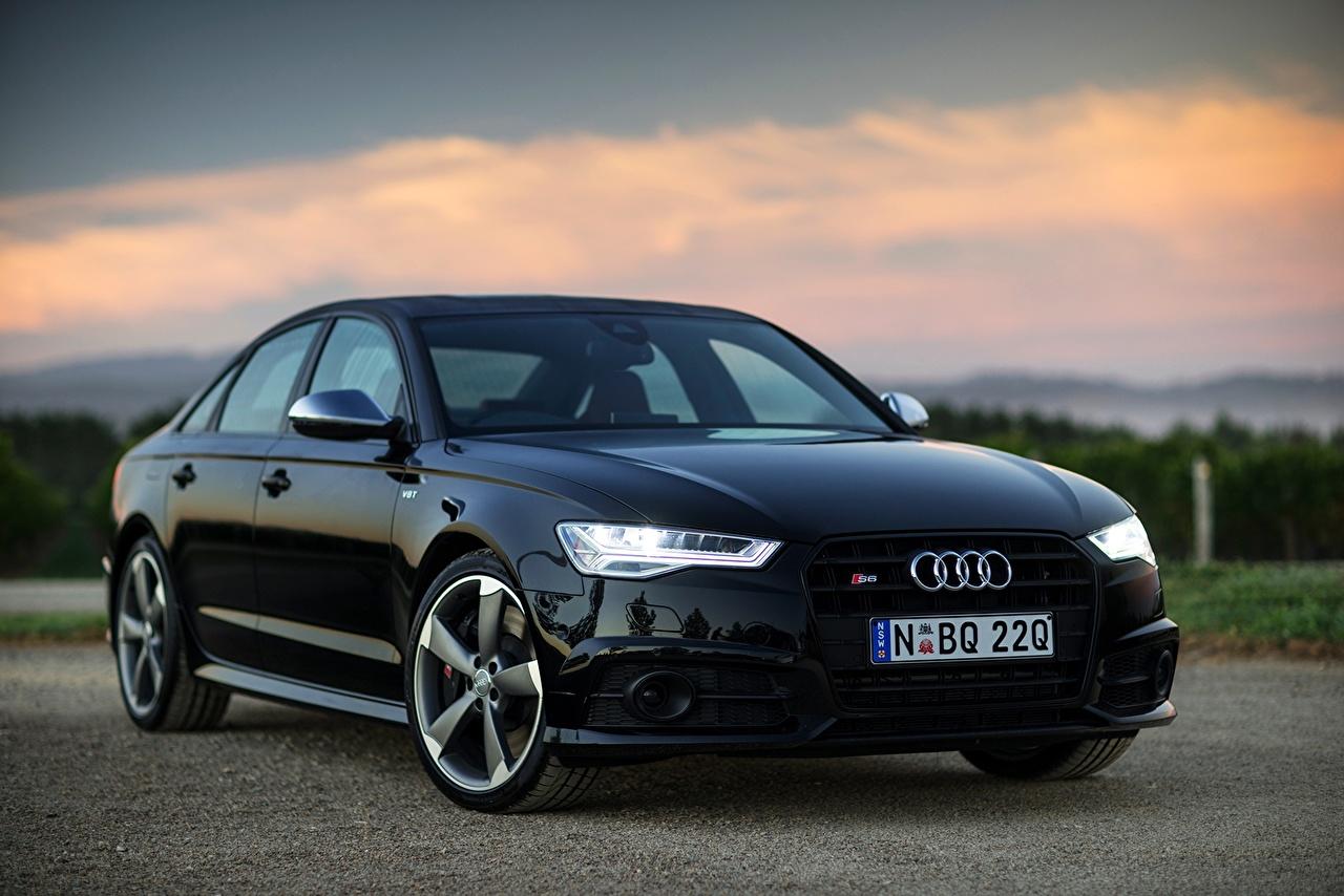 Desktop Wallpapers Audi 2015 S6 Sedan AU-spec Black auto Cars automobile