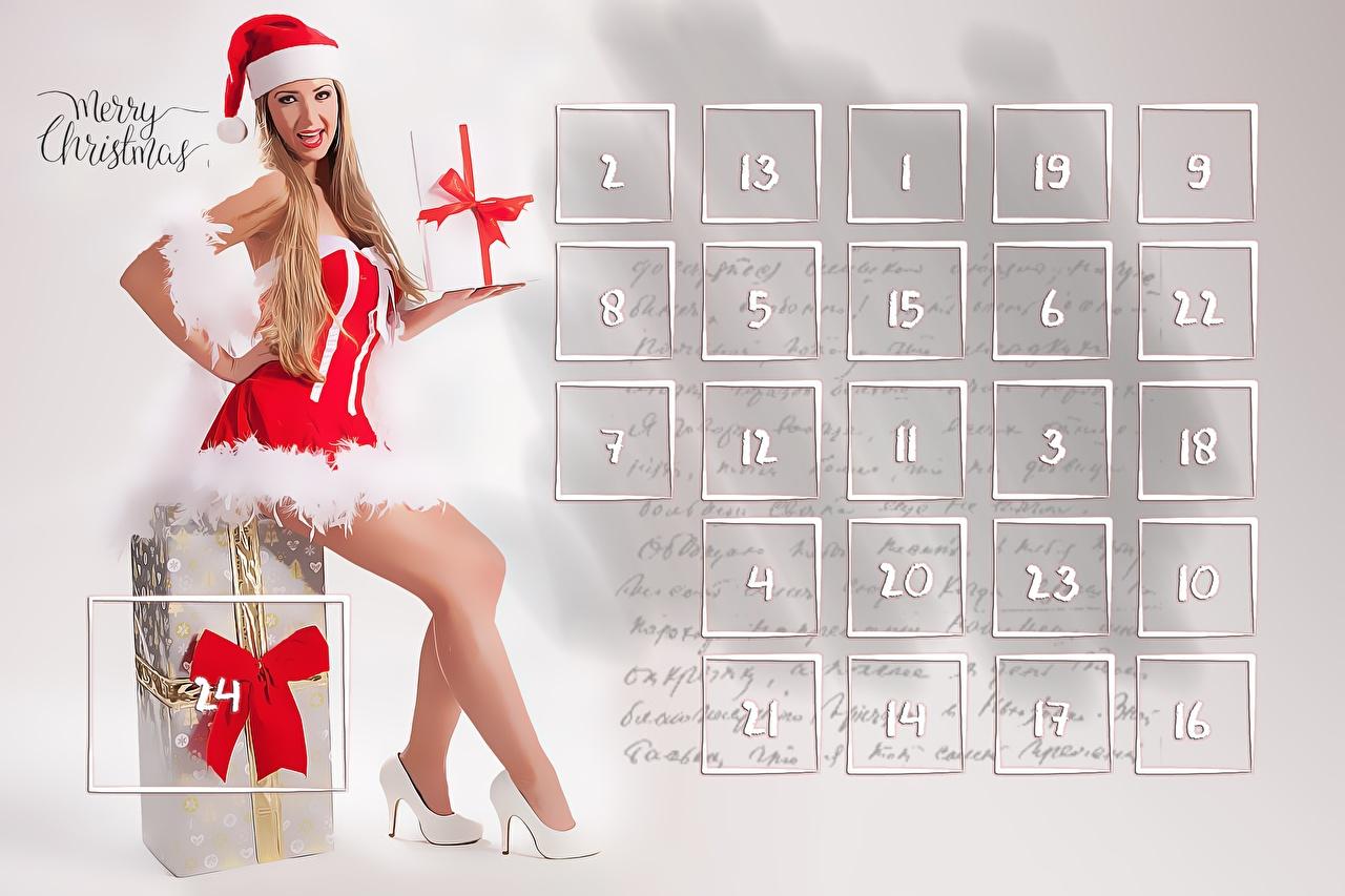 Fotos von Neujahr Englisch Mütze Kalender Mädchens Bein Geschenke Sitzend Uniform Schleife High Heels Stöckelschuh