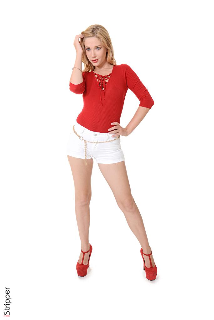 Fotos von Genevieve Gandi Blond Mädchen iStripper Mädchens Bein Hand Shorts Weißer hintergrund Stöckelschuh  für Handy Blondine junge frau junge Frauen High Heels
