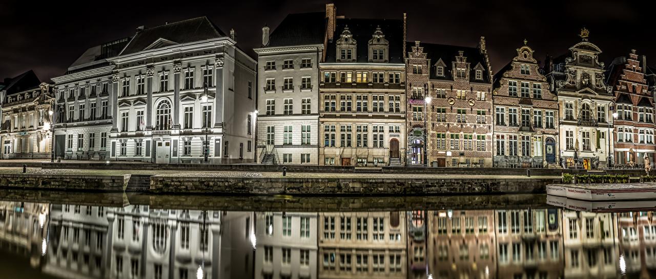 Gante Bélgica Casa Atracadouros Canal Rua Noite Revérbero Edifício, Píer Cidades