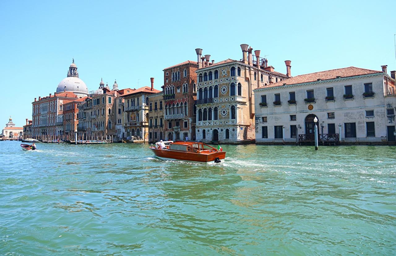 Wallpaper Venice Italy Canal Grande Motorboat Cities Building speedboat powerboat Houses