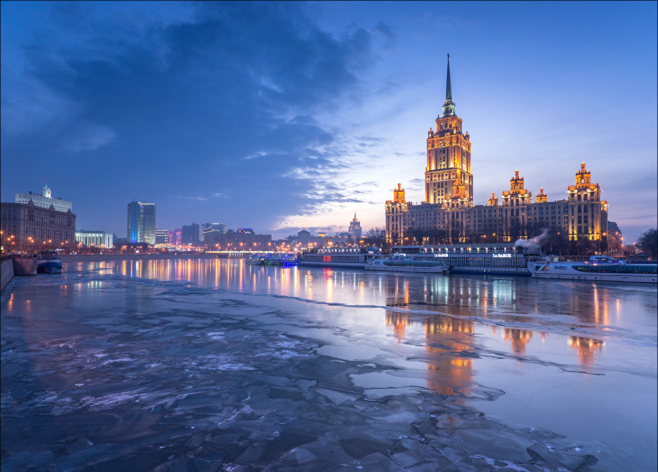 Wallpaper Moscow Russia Hotel Radisson Sky River Night Riverboat