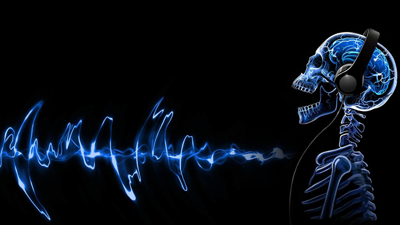 壁紙 クリエイティブ 頭蓋骨 骨格 ヘッドフォン 音楽