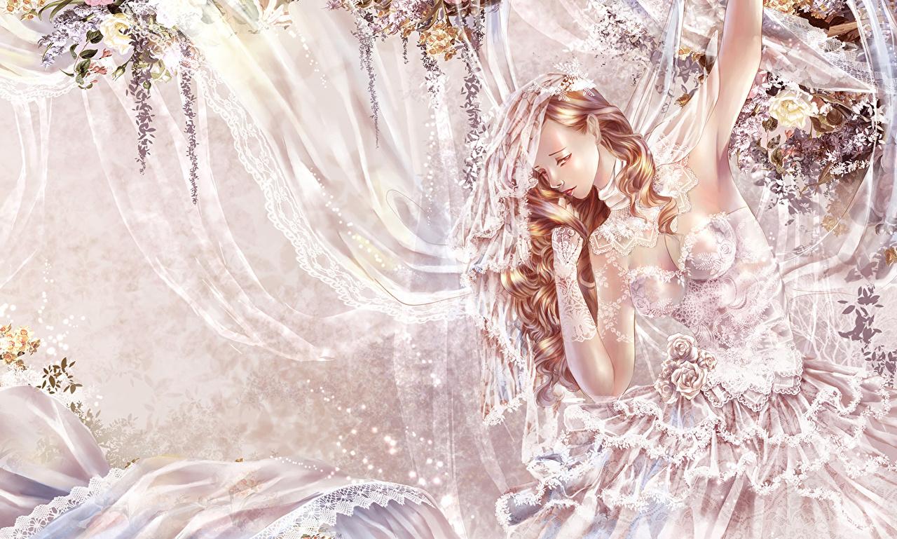 壁紙 描かれた壁紙 花嫁 ドレス ブロンドの女の子 ファンタジー