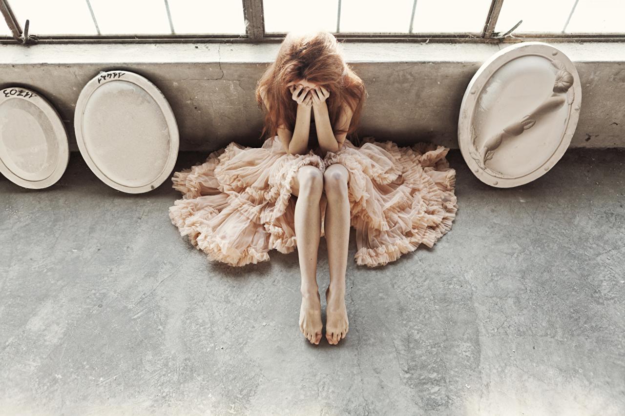 、、ドレス、脚、茶色の髪の女性、座っ、若い女性、少女、