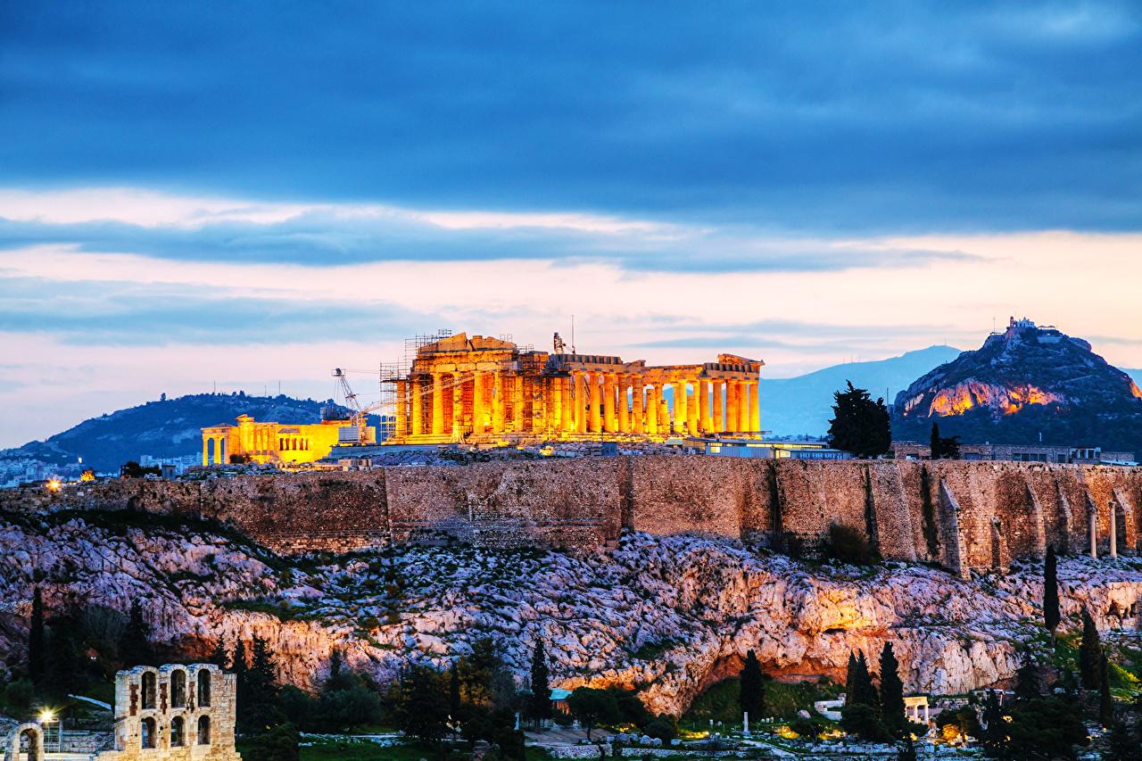 Image Greece Acropolis Ruins Cities