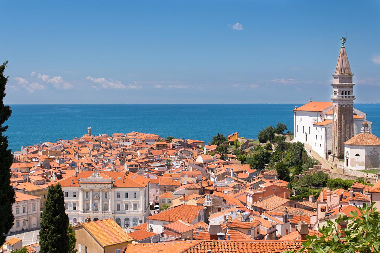 Bilder von Kirchengebäude Slowenien Istrian Peninsula, Piran Meer Horizont Städte Gebäude Kirche Haus