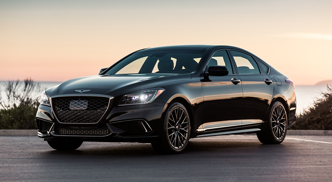 Desktop Wallpapers Hyundai Genesis G80, Sport US-spec, 2017 Sedan Black auto Metallic Cars automobile
