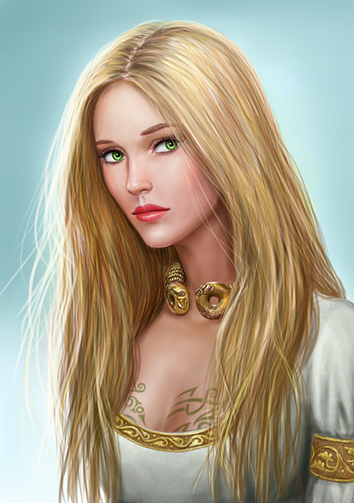 Wallpaper Illustrations to books Blonde girl Asterith Dragonclore Beautiful Hair female Fantasy Staring  for Mobile phone Girls young woman Glance