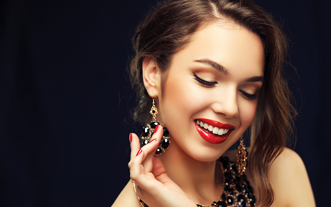 Images Brown haired Manicure Smile Face young woman Fingers Earrings Red lips Black background Jewelry Girls female