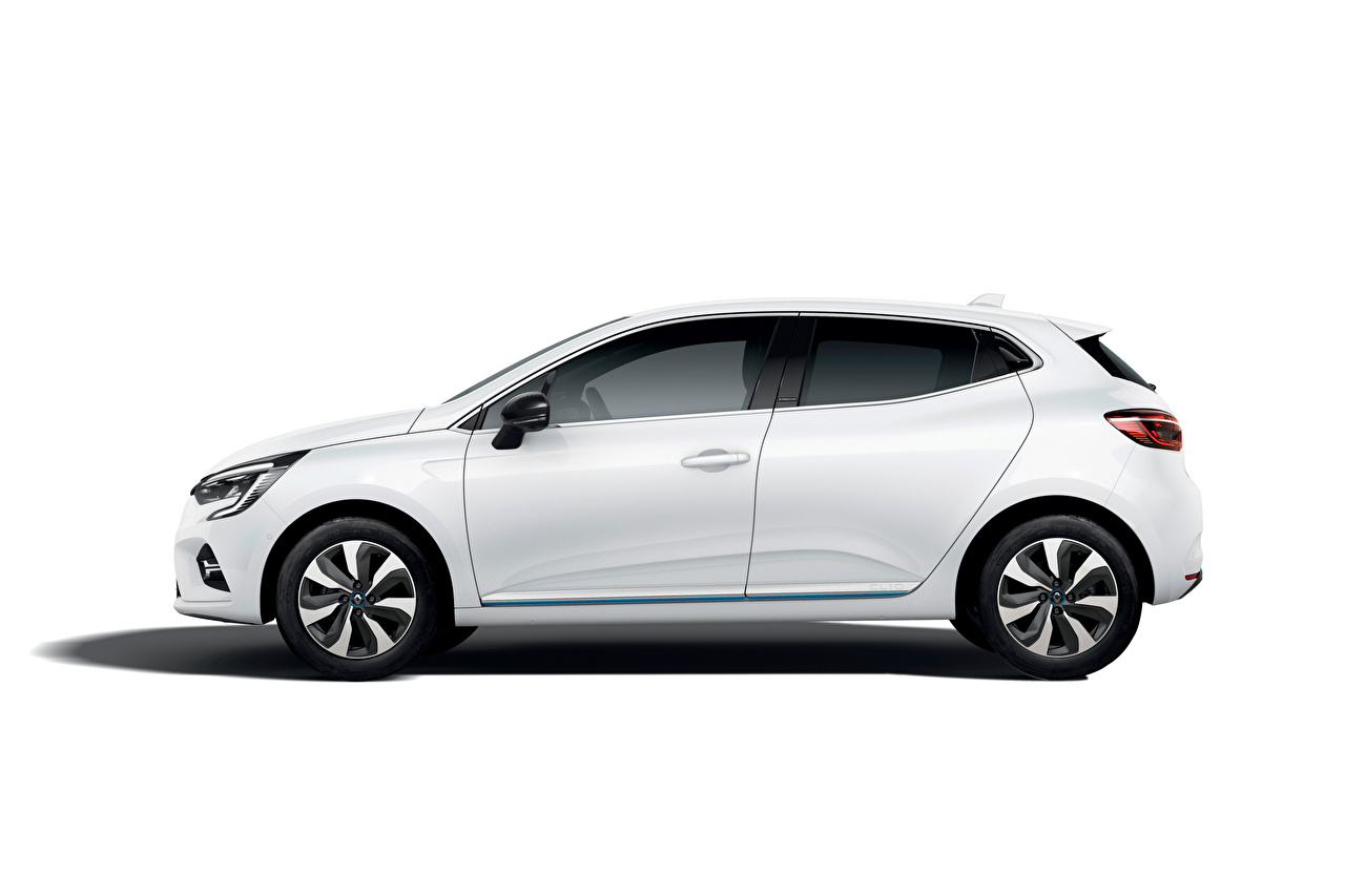 Wallpaper Renault Clio E-TECH, 2020 White Cars Side Metallic auto automobile