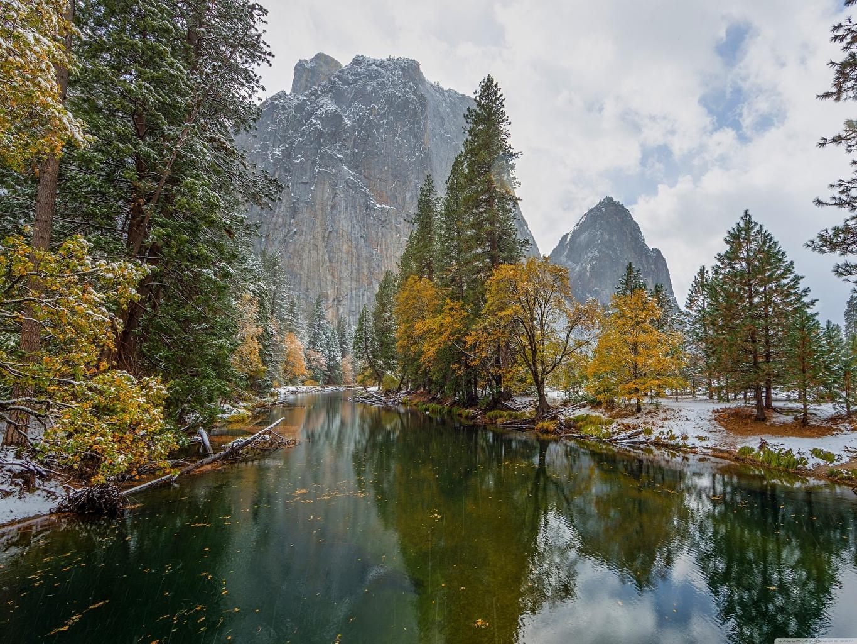 Picture Yosemite California USA Autumn Nature Mountains park Snow Rivers Trees mountain Parks river