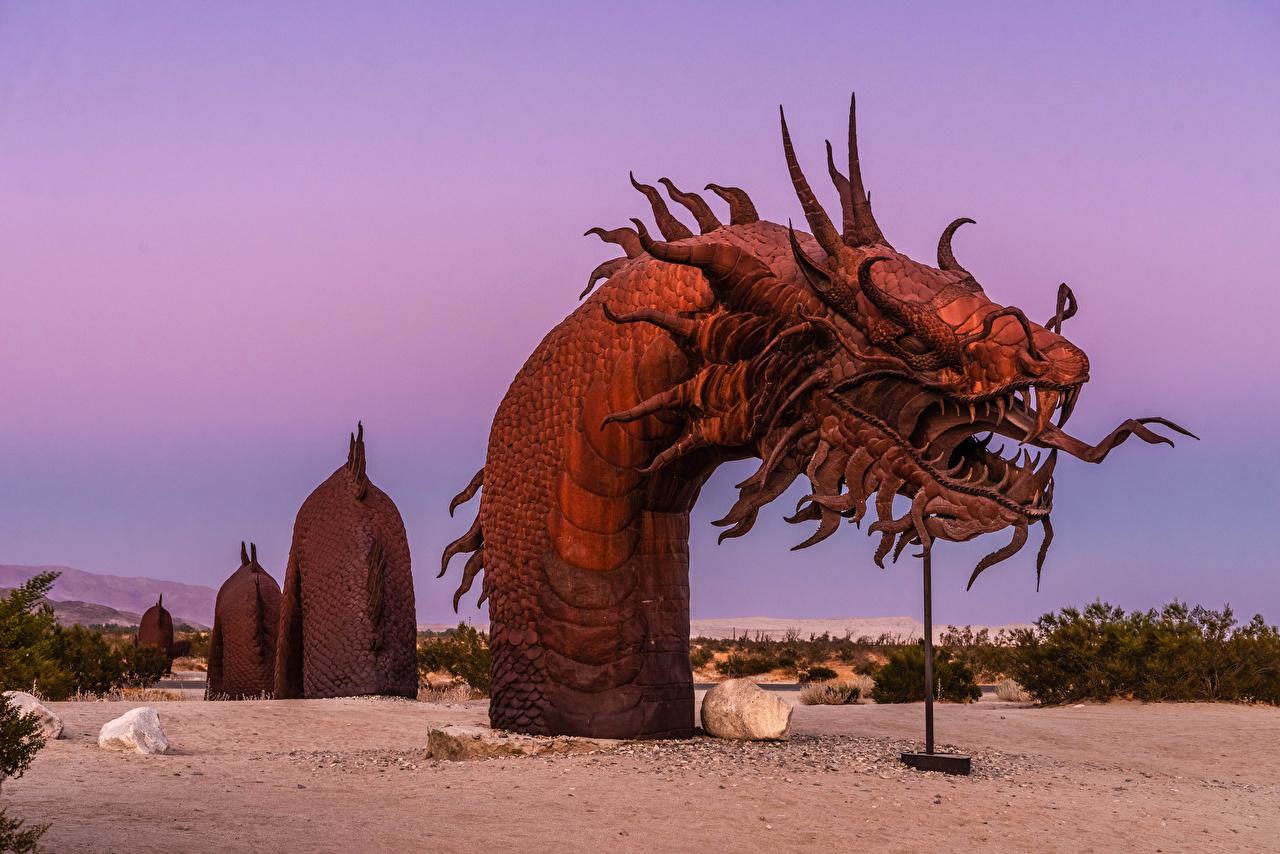 Tapeta Kalifornia Węże USA Serpent Statue Anza-Borrego Desert State Park Natura park Rzeźbiarstwo stany zjednoczone przyroda Parki