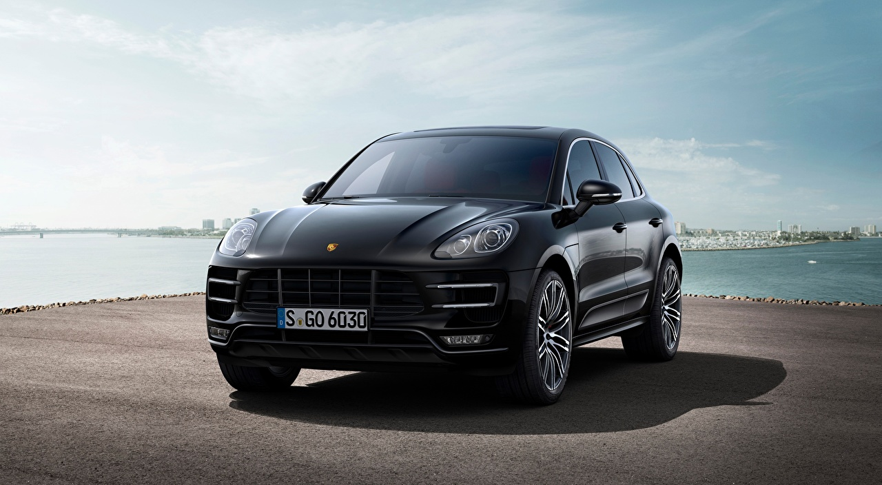 Picture Porsche Crossover Macan Turbo, 2014 Black Front Asphalt automobile CUV Cars auto