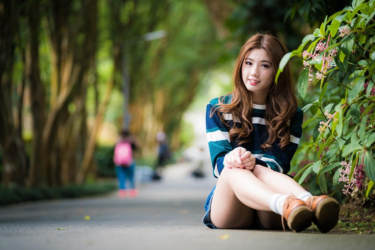 Bilder von Braunhaarige Lächeln Bokeh Mädchens Bein Asiatische sitzt Braune Haare unscharfer Hintergrund junge frau junge Frauen Asiaten asiatisches sitzen Sitzend