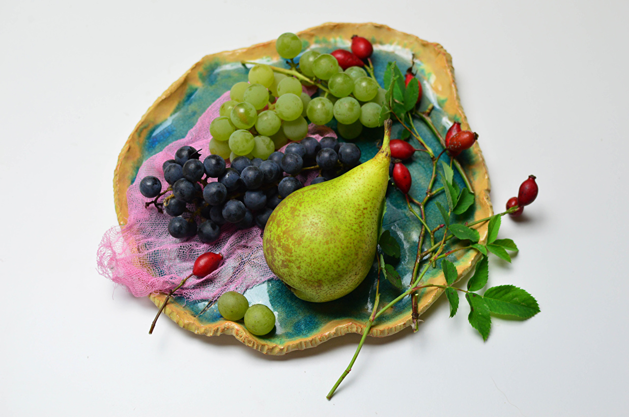 Wallpaper Rose hip Pears Grapes Food Fruit Branches Gray background dog rose fruit Dog rose berries