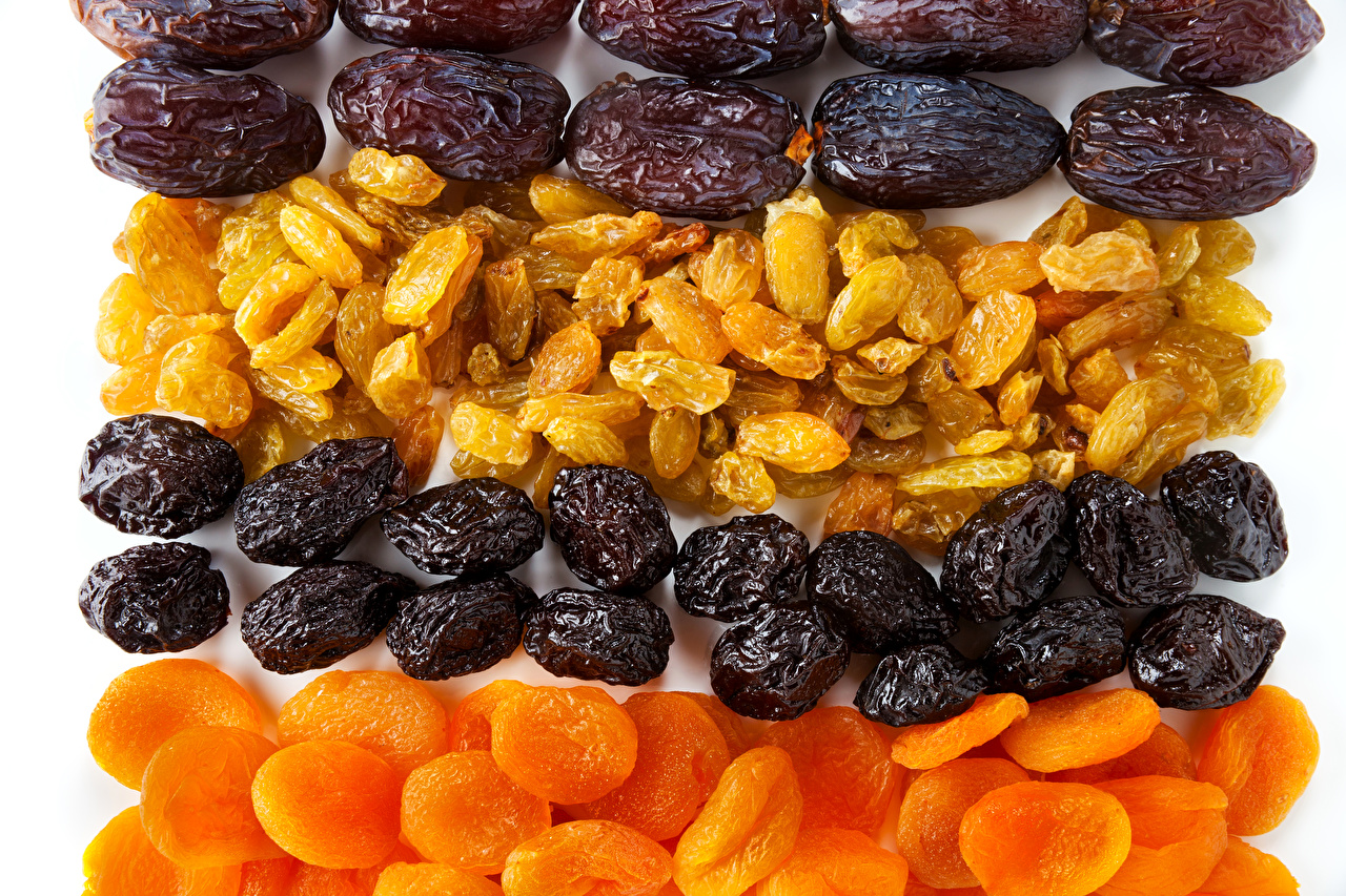 Pictures Dried fruit Raisin Apricot Plums Dried apricot White background Prunes