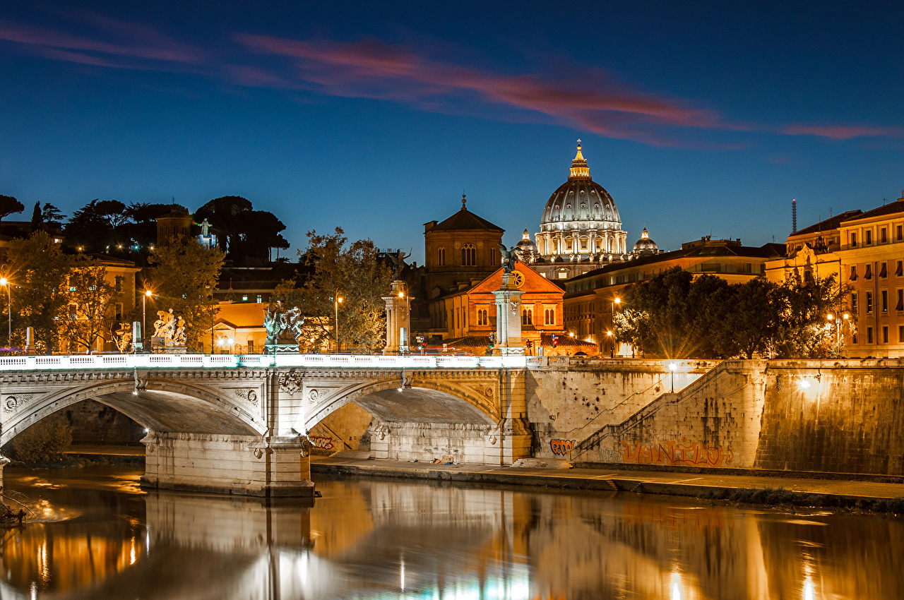 Pictures Rome Italy Bridges river night time Street lights Houses Cities bridge Night Rivers Building