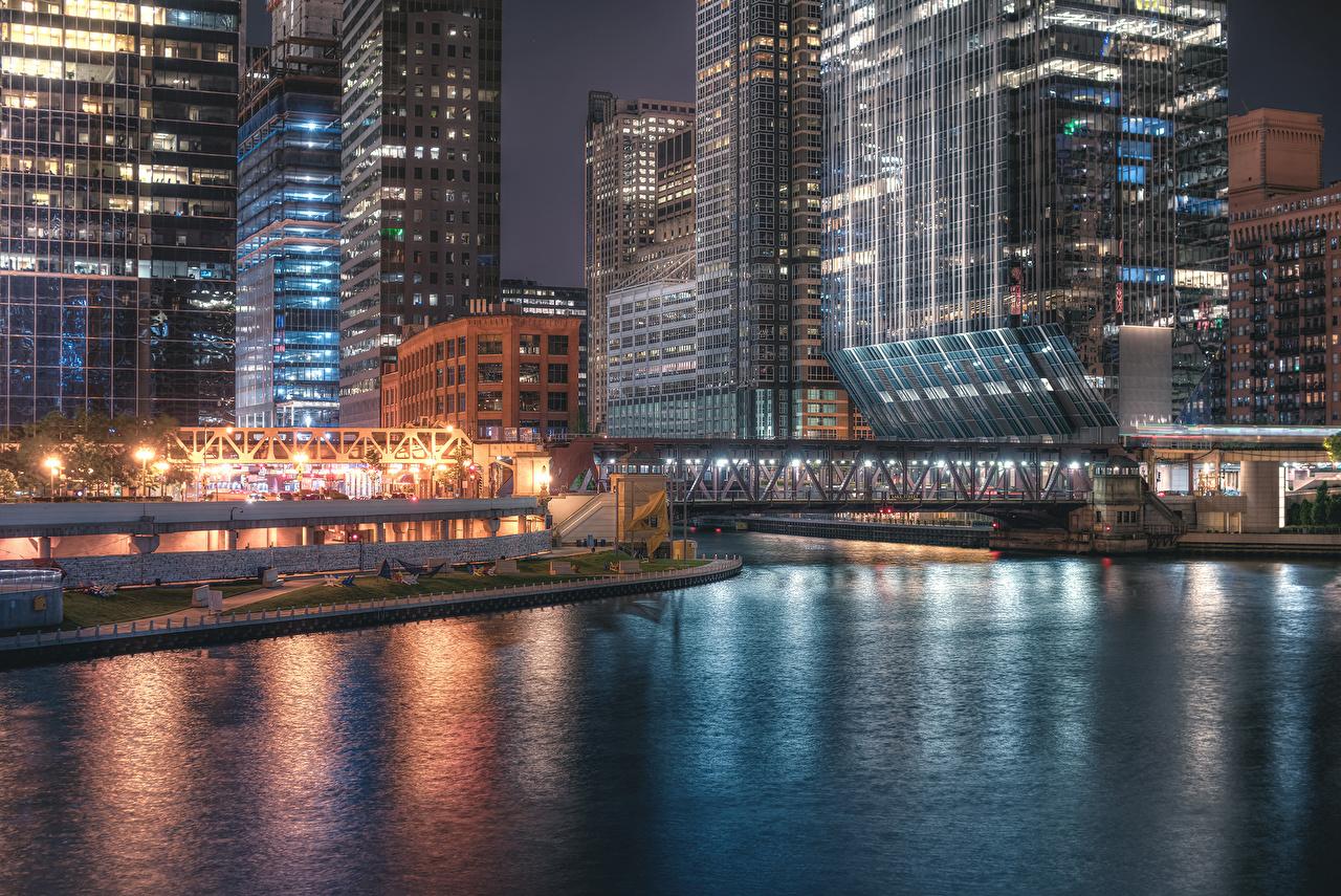 Обои чикаго, мосты, здания, chicago, сша, ночь, америка. Города foto 9