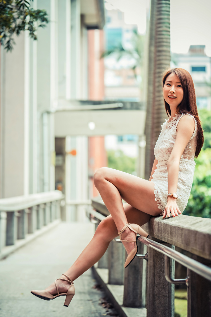 Image Brown haired Girls Legs Asian Glance gown high heels  for Mobile phone female young woman Asiatic Staring Dress frock Stilettos