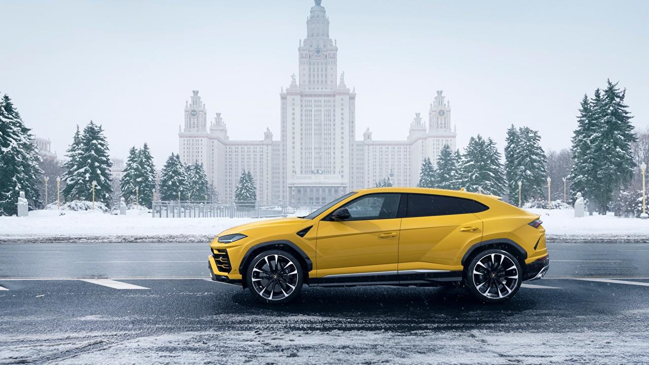 Lamborghini 2018 Urus Latéralement Jaune voiture, automobile Voitures