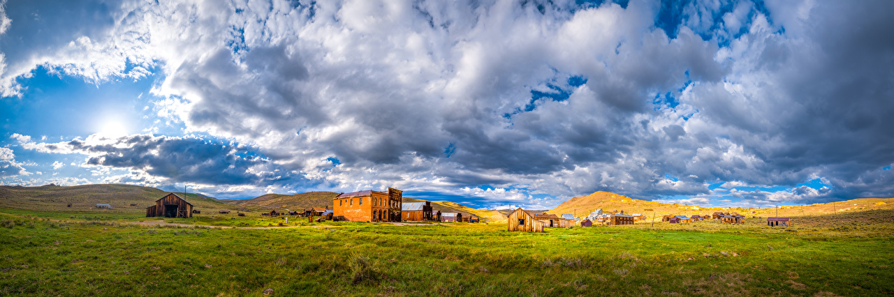 Images California USA panoramic Bodie State Historic Park Nature park Grass Clouds Building Panorama Parks Houses