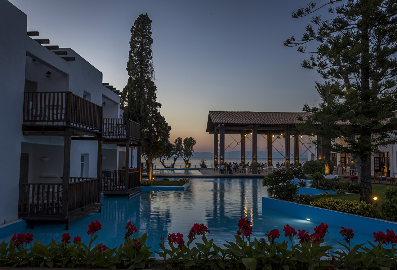 Pictures Villa Greece Spa town Swimming bath Rhodos Evening Cities Pools Resorts