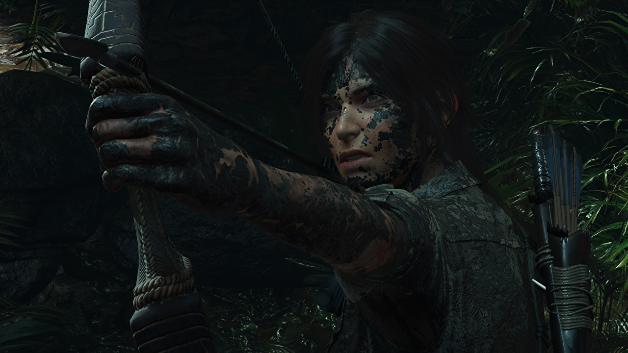 Wallpaper Archers Lara Croft Shadow of the Tomb Raider young woman vdeo game Mud Hands Girls female Games