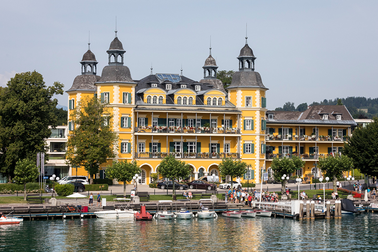 Desktop Wallpapers Austria Lake Boats Waterfront Cities Building Houses
